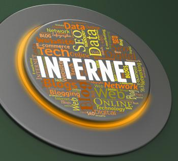 Internet Button Represents Web Site And Control