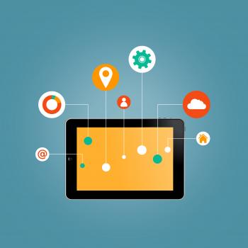 Internet of Things concept - Tablet with Information Technology icons