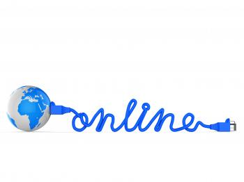 Internet Online Means World Wide Web And Earth