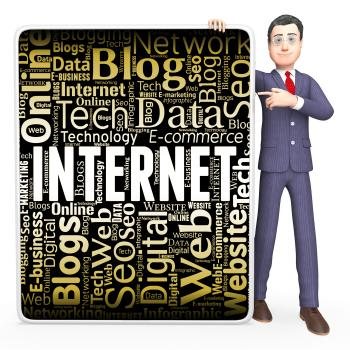 Internet Sign Shows Web Site And Board