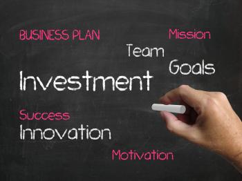 Investment on Chalkboard Represents Investing Goals and Profit