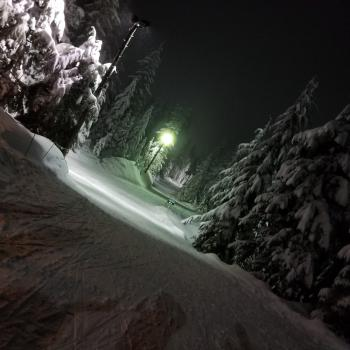 It was snowing (again!) and it was dry-ish by West Coast concrete powder standards :-) Fun slow cross-country ski night tonight @cypressmtn #thanks #lucky 20180201_210131