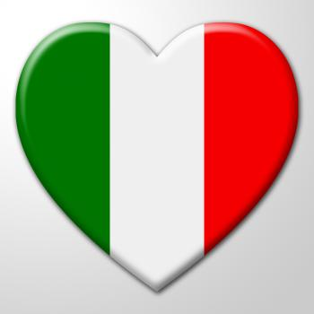 Italy Heart Indicates Valentines Day And Europe