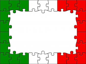 Italy Jigsaw Indicates Empty Space And Copyspace