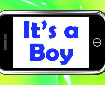 Its A Boy On Phone Shows Newborn Male Baby