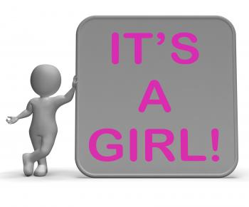 Its A Girl Sign Means Announcing Female Baby