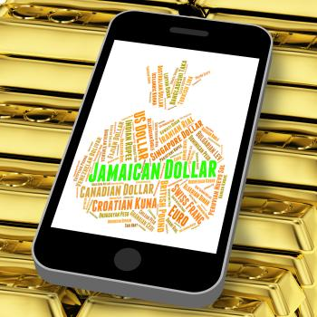 Jamaican Dollar Represents Currency Exchange And Coinage