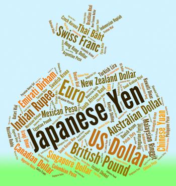 Japanese Yen Indicates Exchange Rate And Banknotes