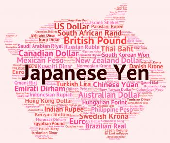 Japanese Yen Represents Currency Exchange And Broker