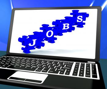 Jobs On Laptop Shows Online Careers