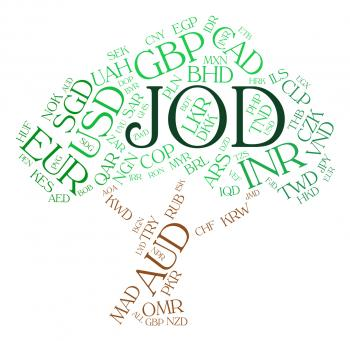 Jod Currency Indicates Worldwide Trading And Banknote