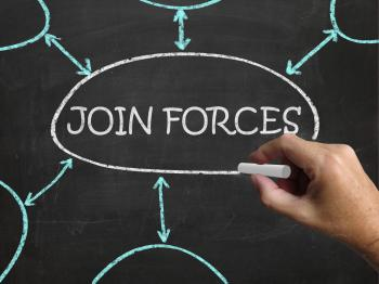 Join Forces Blackboard Means Work Together And Partnership