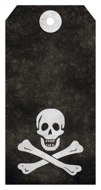Jolly Roger Grunge Tag - Pirate Skull &a