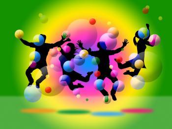 Kids Bubbles Means Children Positive And Joy