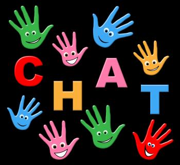 Kids Chat Represents Typing Telephone And Youngsters