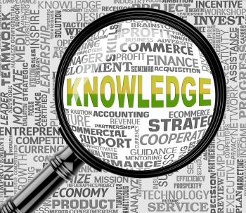 Knowledge Magnifier Indicates Searching Wisdom And Expertness