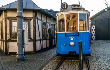Kraków vintage blue tram, Poland