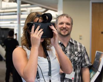 Kristina Mullen using Oculus Rift DK1 at SVVR expo