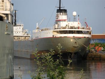 Lake freighter Manitoba, about 7:30am, 2012 07 06 -e.jpg
