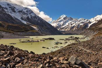 Lake Hooker, with the Hooker Glacier in the distance and Aoraki/Mt Cook towering above.