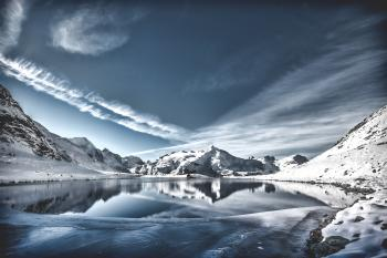 Lake on Between Snowy Mountain