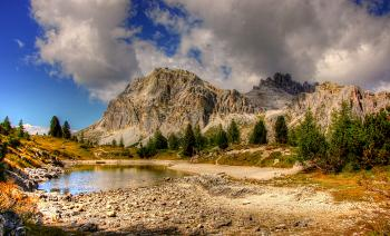 Lake with Mountainous View