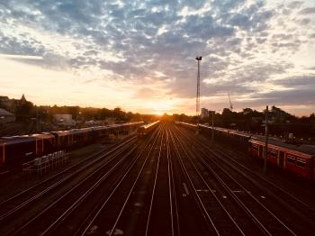 Landscape View of Railway Station during Sunrise