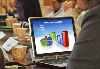 Laptop at meeting