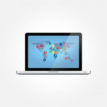 Laptop with World Map and Technology Icons