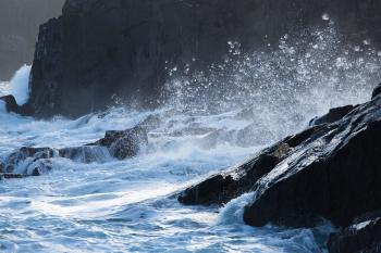 Large waves crashing on shoreline