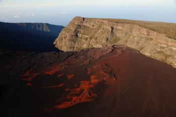 Lava Near Rock Formation Mountain