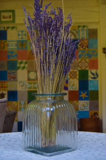 Lavender in a glass vase