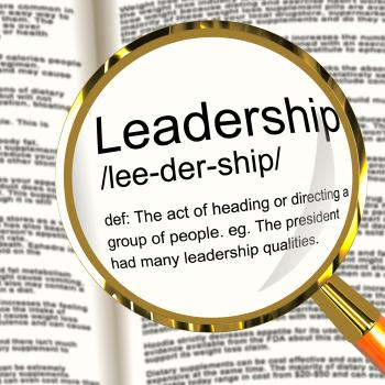 Leadership Definition Magnifier Showing Active Management And Achievem