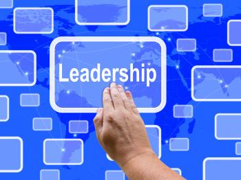 Leadership Touch Screen Shows Leader Vision Achievement