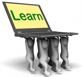 Learn Characters Laptop Shows Internet Learning Or Studying