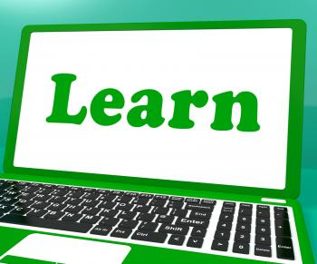 Learn Laptop Shows Web Learning Or Studying