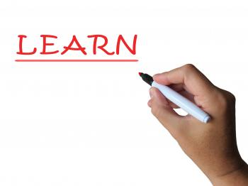 Learn On Whiteboard Shows Hard Study Or Teaching