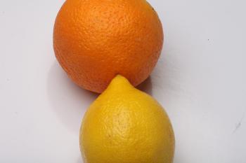 Lemon and Orange Isolated on white
