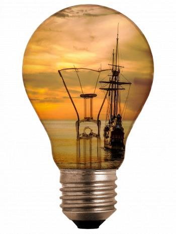 Light Bulb with Ship Inside