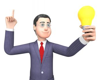 Lightbulb Businessman Represents Power Source And Character 3d Renderi