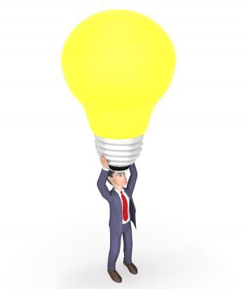 Lightbulb Character Represents Power Source And Businessman 3d Renderi