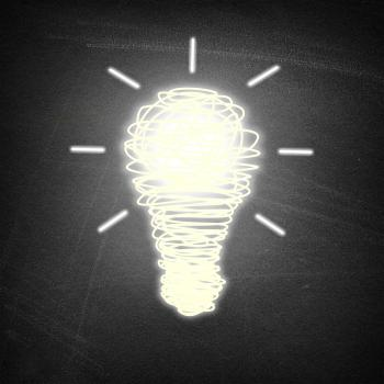 Lightbulb idea on chalkboard background