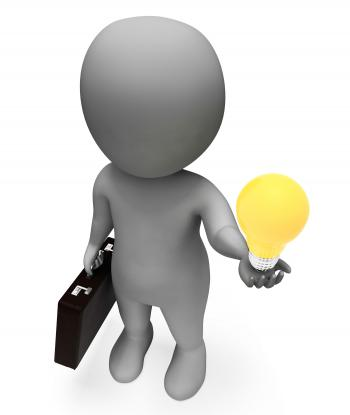 Lightbulb Idea Represents Business Person And Character 3d Rendering