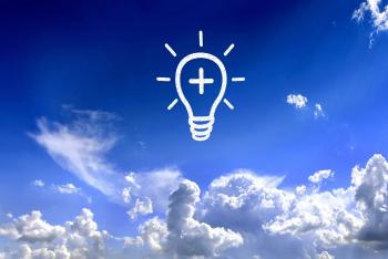 Light bulb in the sky - Brilliant ideas concept