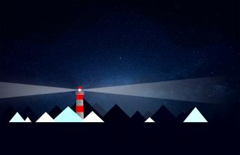 Lighthouse and Icebergs at Night - Illustration with Copyspace