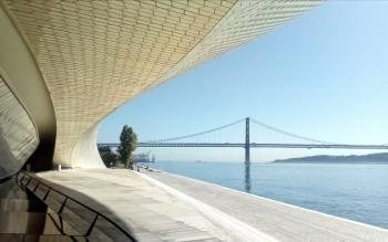 Lisbon - 25 of April Bridge Over the Tagus River From the MAAT Museum