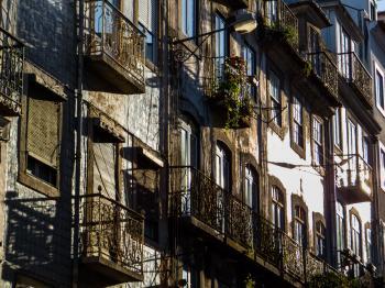 Lisbon architecture - sunny street