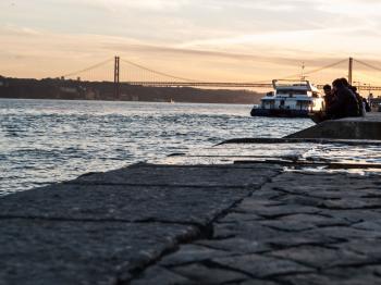Lisbon promenade, river side
