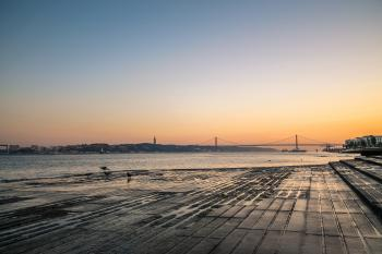 Lisbon river side at sunset