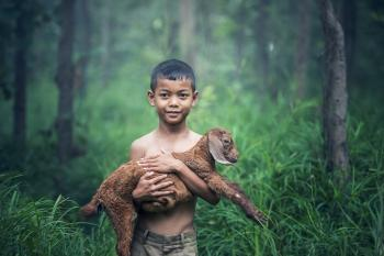 Little Boy with Goat